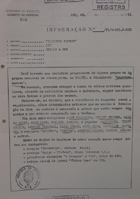 Documento do Exército revela os dedos-duros do meio