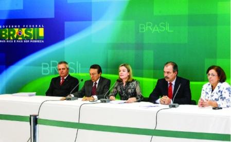 Ministros anunciam vetos ao projeto de lei sobre distribuição dos royalties do petróleo. Foto: Edezio Junior/PR