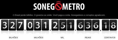 Print da página do Sonegômetro feito em 26/8/2014 às 18:54.