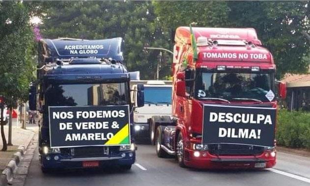 Resultado de imagem para caminhoneiros no fora Dilma!